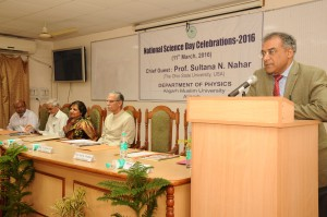 Professor Anil Pradhan addressing at the National Science Day program